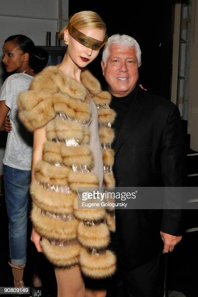 A model and designer Dennis Basso attend the Dennis Basso Spring 2010 during MercedesBenz Fashion Week at Bryant Park on September 15 2009 in New...