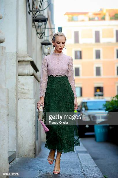 Model and designer Tatiana Korsakova attends the Valentino 'Mirabilia Romae' show in Rome on July 9 2015 in Rome Italy