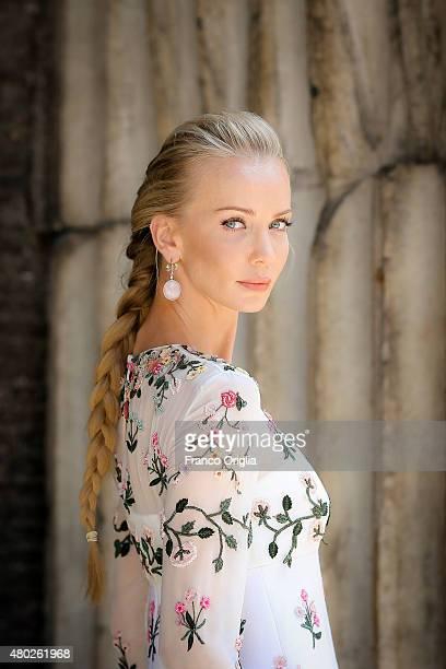 Model and designer Tatiana Korsakova visits Rome during fashion shows on July 10 2015 in Rome Italy