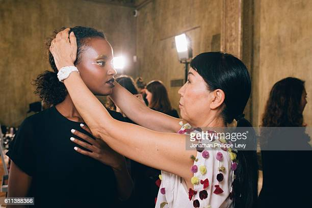 Model and Designer Tsumori Chisato pose prior the Tsumori Chisato Presentation as part of the Paris Fashion Week Womenswear Spring/Summer 2017 on...