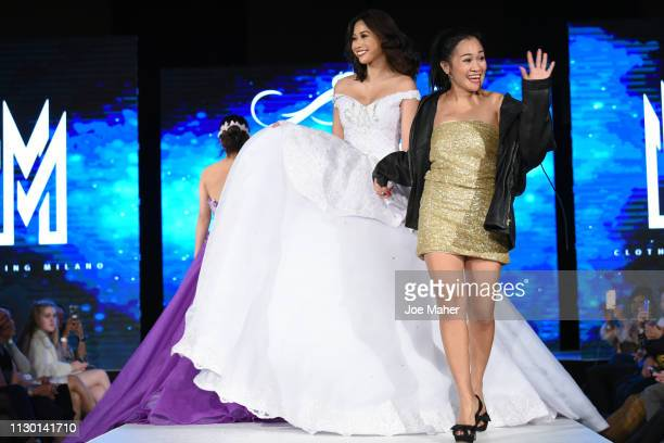 Model and designer walk the runway for MEM Clothing Milano at the House of iKons show during London Fashion Week February 2019 at the Millennium...