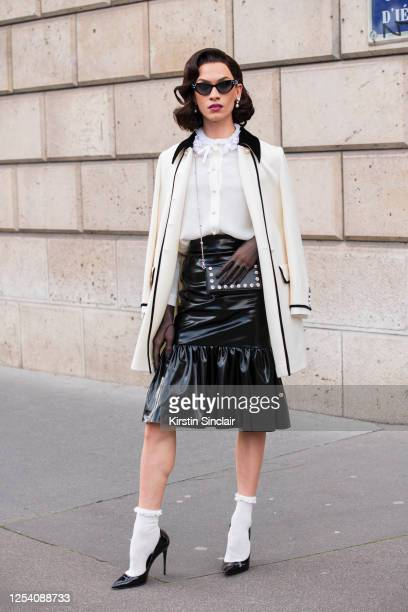 Model and Drag Queen Miss Fame wears all Miu Miu on March 03, 2020 in Paris, France.