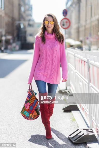 Model and fashion blogger Alexandra Lapp wearing Christian Louboutin folkloric Mexicaba tote in cottoncanvas in collaboration with the Taller Maya...