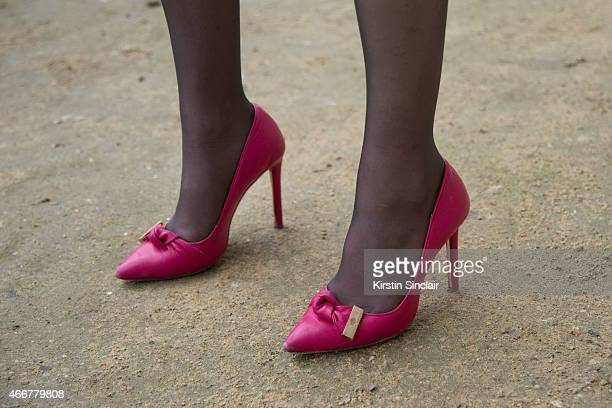 Model and fashion blogger Ella Catliff wears Mulberry shoes on day 8 of Paris Collections Women on March 10 2015 in Paris France