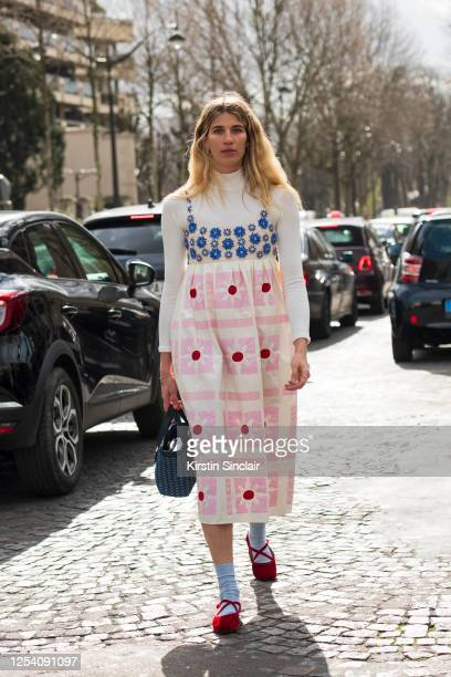 Model and fashion consultant Veronika Heilbrunner wears all Miu Miu on March 03, 2020 in Paris, France.