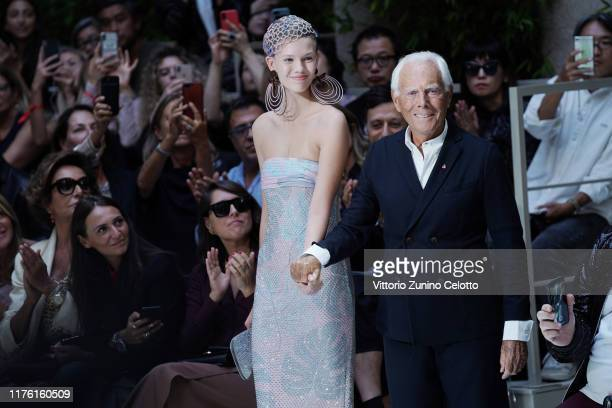 Model and fashion designer Giorgio Armani walk the runway at the Giorgio Armani show during the Milan Fashion Week Spring/Summer 2020 on September...
