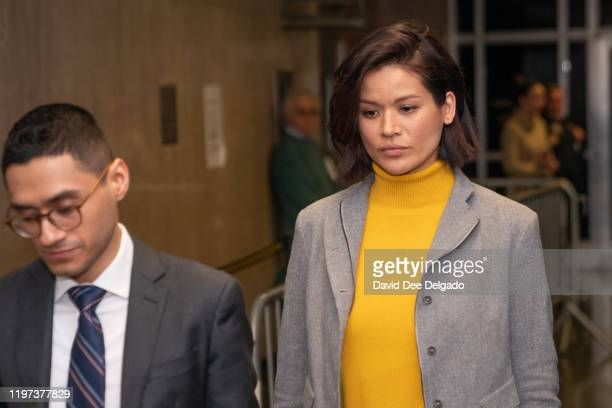 Model and former actress Tarale Wulff departs Manhattan Criminal Court during an intermission in testimony during the sexual assault trial of Harvey...