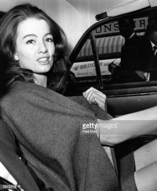 Model and former showgirl Christine Keeler in a car after leaving court during the Stephen Ward case