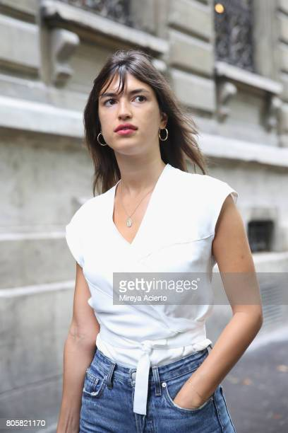 Model and founder of Rouje, Jeanne Damas, attends the Proenza Schouler Haute Couture fashion show on July 2, 2017 in Paris, France.