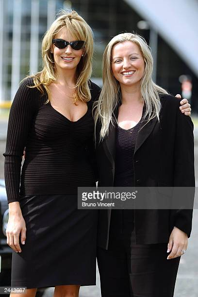 Model and girlfriend of singer Rod Stewart Penny Lancaster and entrepreneur Michelle Mone pose for photographers during a photocall for Ultimo at the...