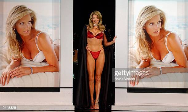 Model and girlfriend of singer Rod Stewart, Penny Lancaster models items from the new Ultimo swimwear range in the Scottish Exhibition Conference...