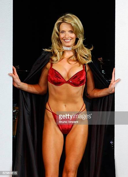 Model and girlfriend of singer Rod Stewart Penny Lancaster models items from the new Ultimo swimwear range in the Scottish Exhibition Conference...