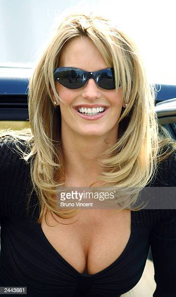 Model and girlfriend of singer Rod Stewart Penny Lancaster poses for photographers during a photocall for Ultimo at the SECC on August 29, 2003 in...