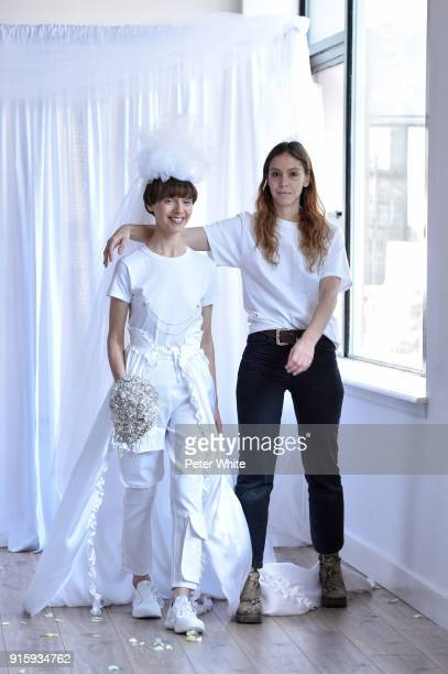 A model and Hillary Taymour walk the runway at the Collina Strada AW18 Show during New York Fashion Week on February 8 2018 in New York City