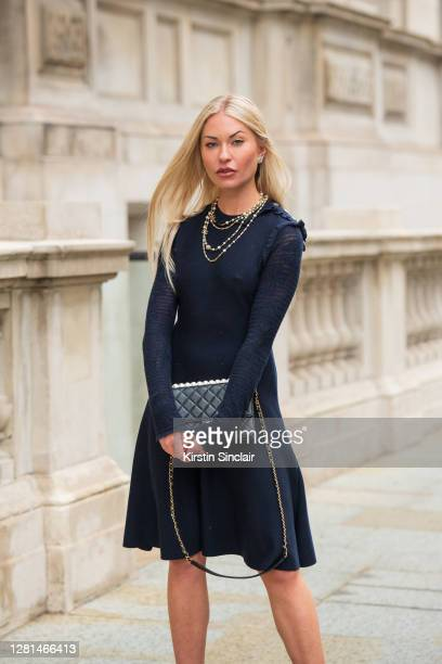 Model and Influencer Lexi Fargo wears a Chanel dress, necklace, bag and earrings during LFW September 2020 at on September 20, 2020 in London,...