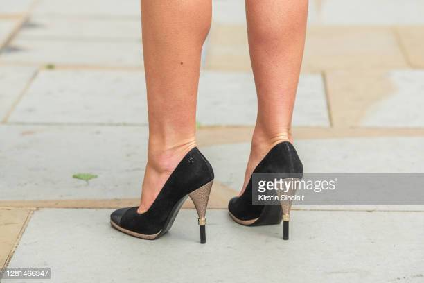 Model and Influencer Lexi Fargo wears Chanel shoes during LFW September 2020 at on September 20, 2020 in London, England.