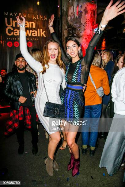 Model and influencer Soraya Eckes and model and influencer Brenda Huebscher during the Maybelline Show 'Urban Catwalk Faces of New York' at...