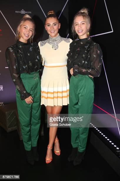 Model and influencer Stefanie Giesinger with Lisa and Lena Influencer of the year during the New Faces Award Style 2017 at 'The Grand' hotel on...