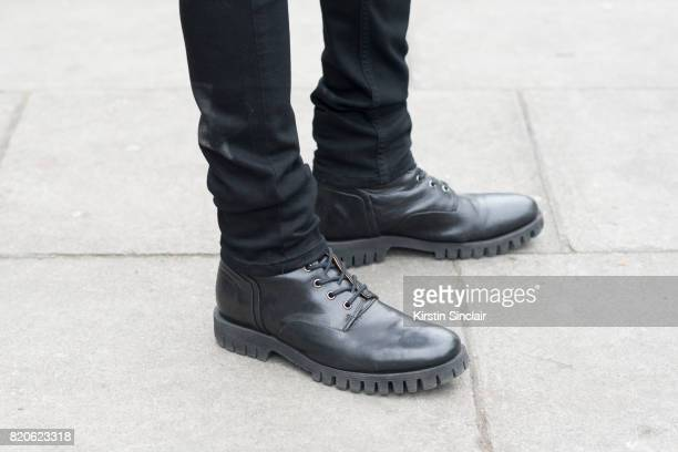 Model and Made in Chelsea star Oliver Proudlock wears Paige jeans and Diesel boots on day 3 of London Collections Men on June 12 2017 in Paris France