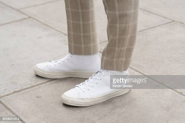Model and Made in Chelsea star Oliver Proudlock wears River Island trousers Converse trainers on day 3 of London Collections Men on June 12 2017 in...
