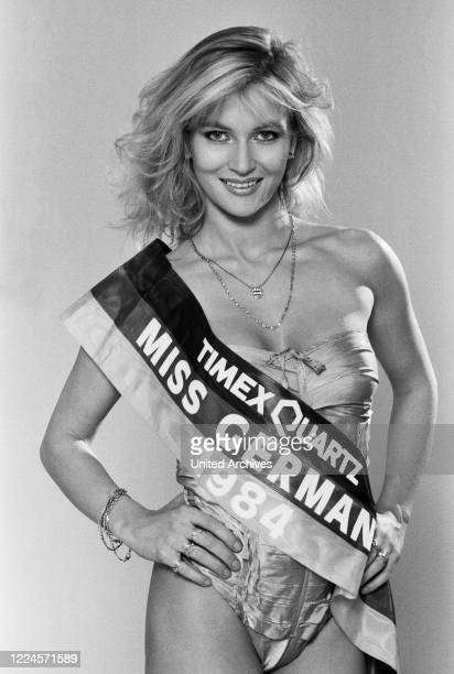 Model and Miss Germany Brigitte Berx, posing in a promotional photo shoot, Germany, 1984.