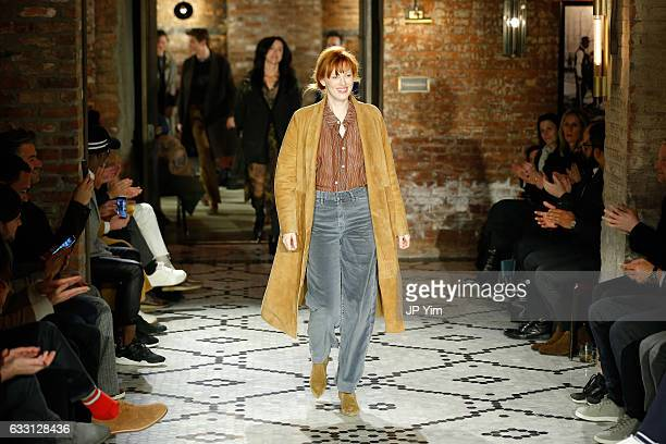 Model and musician Karen Elson walks the runway at the Billy Reid Autumn/Winter 2017 runway show at The Beekman Hotel during NYFW Men's on January 30...