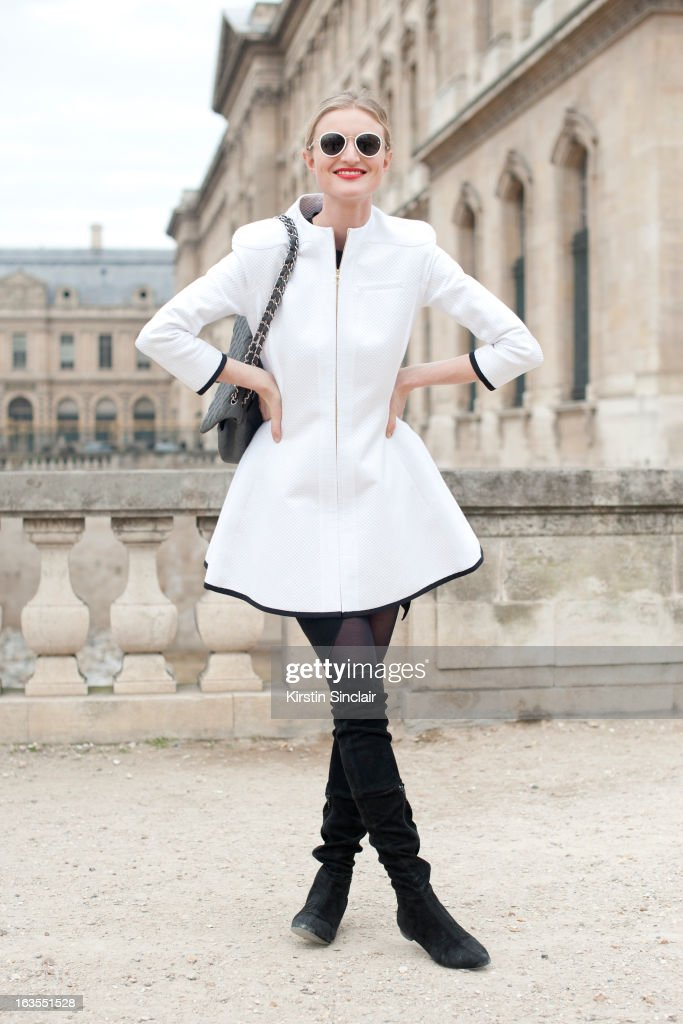 Model and photographer Candice Lake wears a Chanel bag, Aganovich jacket, Raf Simons sunglasses and Zara boots on day 7 of Paris Womens Fashion Week Autumn/Winter 2013 on March 06, 2013 in Paris, France.