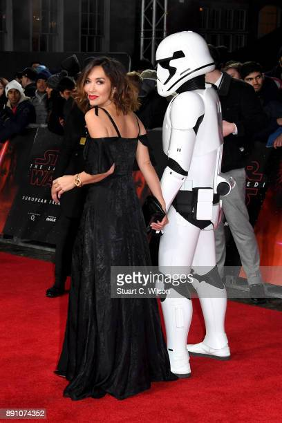 Model and presenter Myleene Klass walks the red carpet with a stormtrooper as she attends the European Premiere of 'Star Wars The Last Jedi' at Royal...