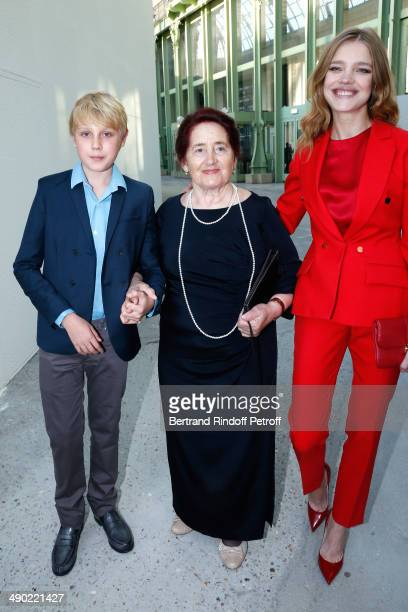 Model and President of the 'Naked Heart Foundation' Natalia Vodianova her grandmother Varissa Gromova and her son Lucas Portman attend 'The strange...