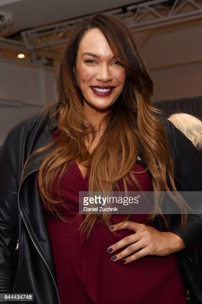 Model and professional wrestler Nia Jax poses backstage during the DiaCo fashion show and industry panel at the CURVYcon at Metropolitan Pavilion...