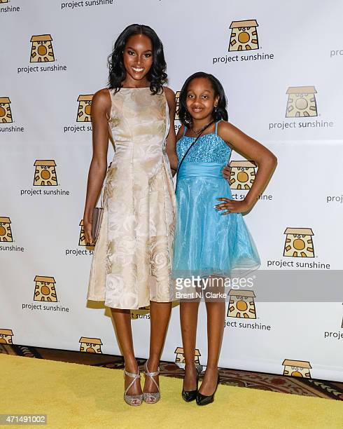 Model and recipient of Project Sunshine's Ambassador Award Damaris Lewis and Nakayla Prescod arrive for Project Sunshine's 12th Annual Benefit...