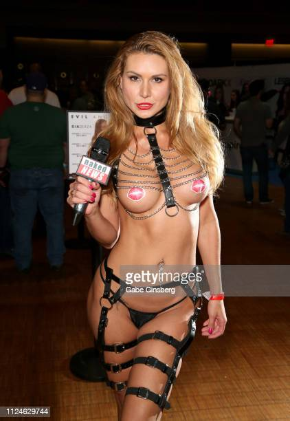Model and reporter Marina Valmont with Naked News poses at the 2019 AVN Adult Entertainment Expo at The Joint inside the Hard Rock Hotel Casino on...