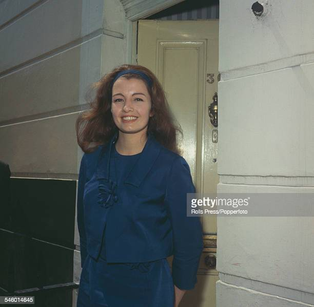 Model and showgirl, Christine Keeler pictured arriving back at her flat at Linhope Street in Marylebone, London following her release from Holloway...