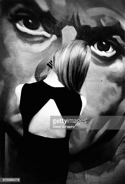 Model and singer Nico at the Artkraft Strauss billboard factory