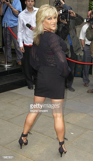 Model and singer Sam Fox arrives at the Sony Radio Awards May 8 2003 at The Grosvenor Hotel London