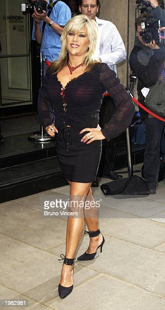Model and singer Sam Fox attends the Sony Radio Awards at The Grosvenor Hotel on May 8 2003 in London England