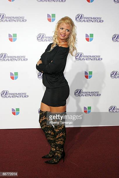 Model and singer Sissi arrives at the 2nd Annual Premios Juventud Awards at the University of Miami Convocation Center September 22 2005 in Miami...