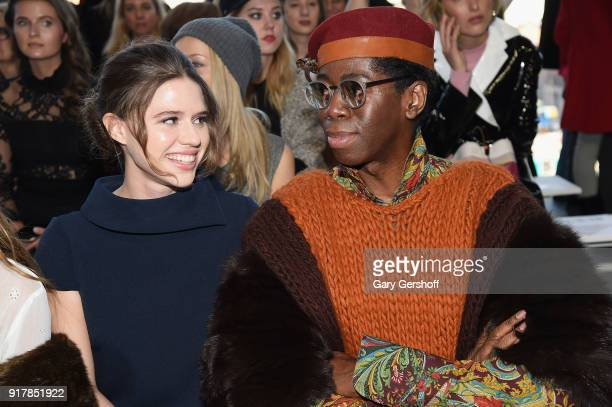 Model and socialite Alessandra Ford Balazs and JAlexander attend the Badgley Mischka fashion show during New York Fashion Week at Gallery I at Spring...