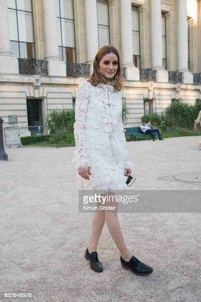 Model and Socialite Olivia Palermo wears Givenchy shoes and a Giambattista Valli dress day 2 of Paris Haute Couture Fashion Week Autumn/Winter 2017...