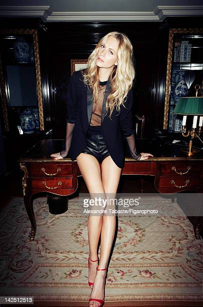 Model and socialite Poppy Delevingne poses for Madame Figaro on December 10 2011 in Paris France PUBLISHED IMAGE Figaro ID 10256900 Jacket by Zadig...