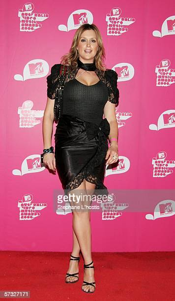 Model and television host Kate Fischer arrives for the second MTV Australia Video Music Awards at the Sydney SuperDome April 12 2006 in Sydney...