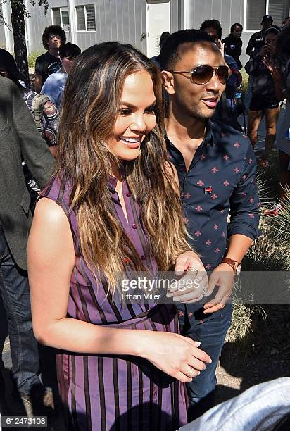 Model and television personality Chrissy Teigen and singer/songwriter John Legend campaign for Democratic presidential nominee Hillary Clinton as...