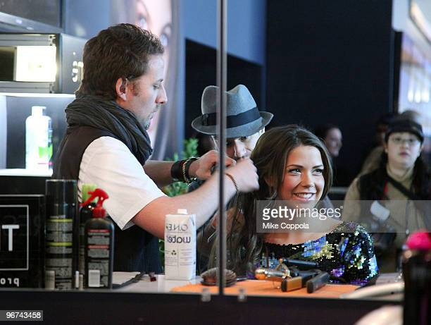Model and television personality Erin Lucas is seen getting her hair done at the TRESemme booth at Bryant Park during Mercedes-Benz Fashion Week Fall...