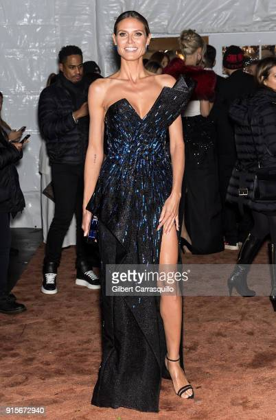 Model and television personality Heidi Klum is seen arriving to the 2018 amfAR Gala New York at Cipriani Wall Street on February 7 2018 in New York...