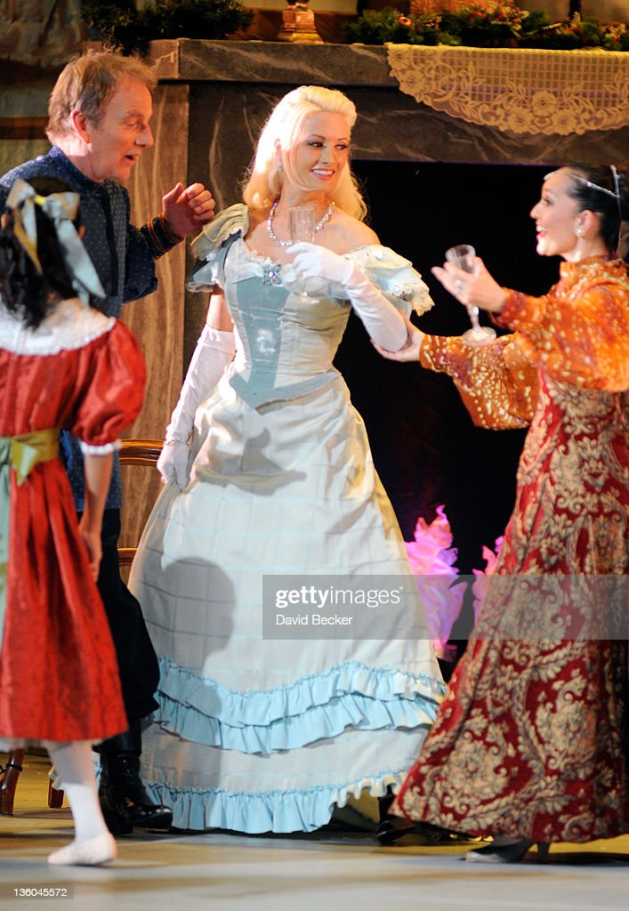 Model and television personality Holly Madison (C) appears as a guest performer in Nevada Ballet Theatre's production of 'The Nutcracker' with Jaime Gallagher (L) and Tara Foy at the Theatre des Arts at the Paris Las Vegas on December 17, 2011 in Las Vegas, Nevada.