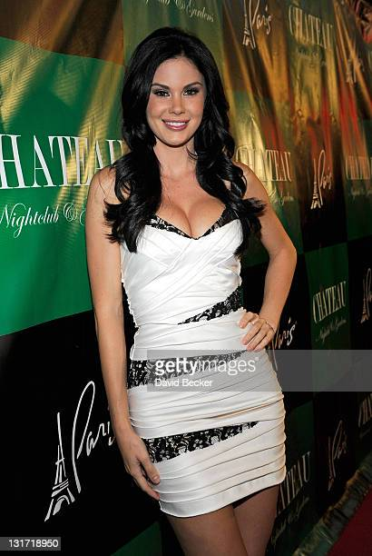 Model and television personality Jayde Nicole arrives at the Chateau Nightclub Gardens at the Paris Las Vegas on April 22 2011 in Las Vegas Nevada