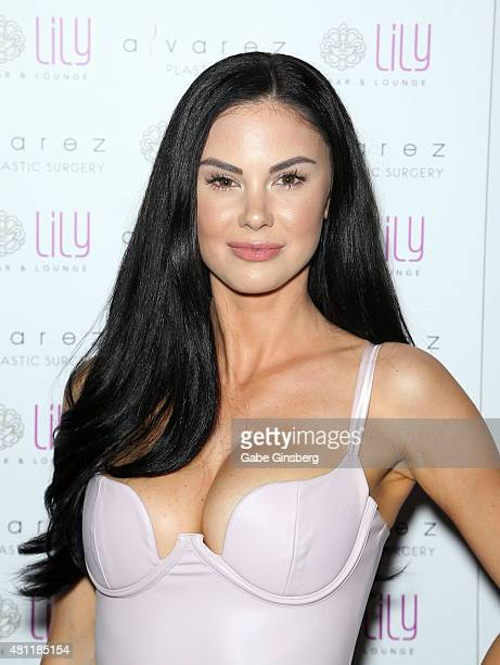 Model and television personality Jayde Nicole attends a party for Alvarez Plastic Surgery at Lily Bar Lounge at the Bellagio on July 17 2015 in Las...