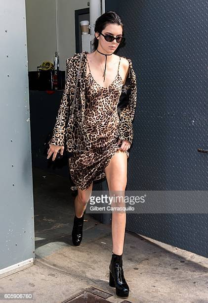 Model and television personality Kendall Jenner is seen arriving at Marc Jacobs Spring 2017 fashion show during New York Fashion Week at Hammerstein...