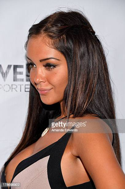 Model and television personality Nabilla Benattia arrivs at the Genlux Magazine release party with Erika Christensen at Sofitel Hotel on August 29...