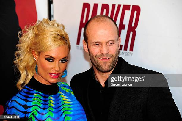 Model and television personality Nicole 'Coco' Austin and actor Jason Statham arrive for the premiere of FlimDistrict's 'Parker' at the Planet...